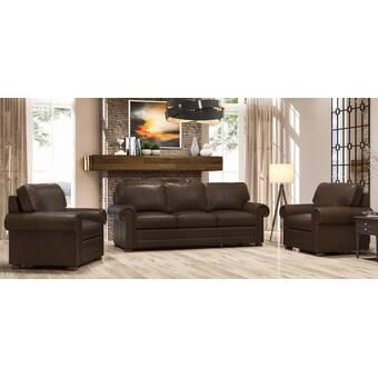 Westland And Birch Howard 2 Piece Leather Living Room Set Wayfair