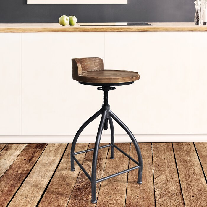 Remarkable Fuchsia Industrial Adjustable Metal Barstool In Silver Brushed Grey With Brown Wood Seat Evergreenethics Interior Chair Design Evergreenethicsorg