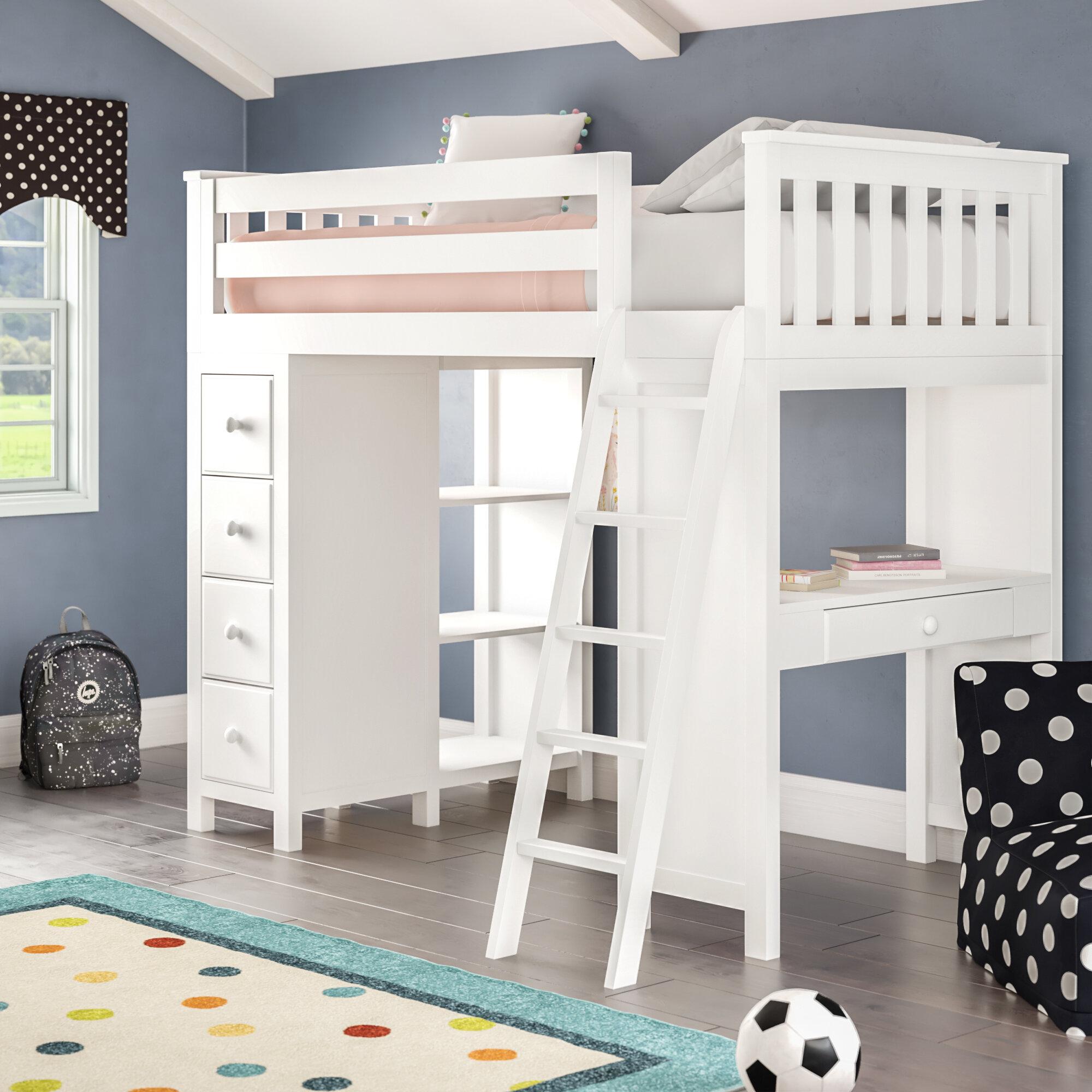 Lit Double Surélevé Adulte lit de mezzanine simple avec tiroirs et tablettes