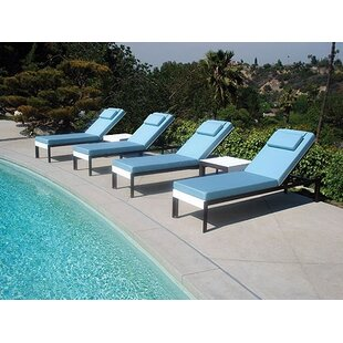 Modern Outdoor Etra Reclining Chaise Lounge with Table