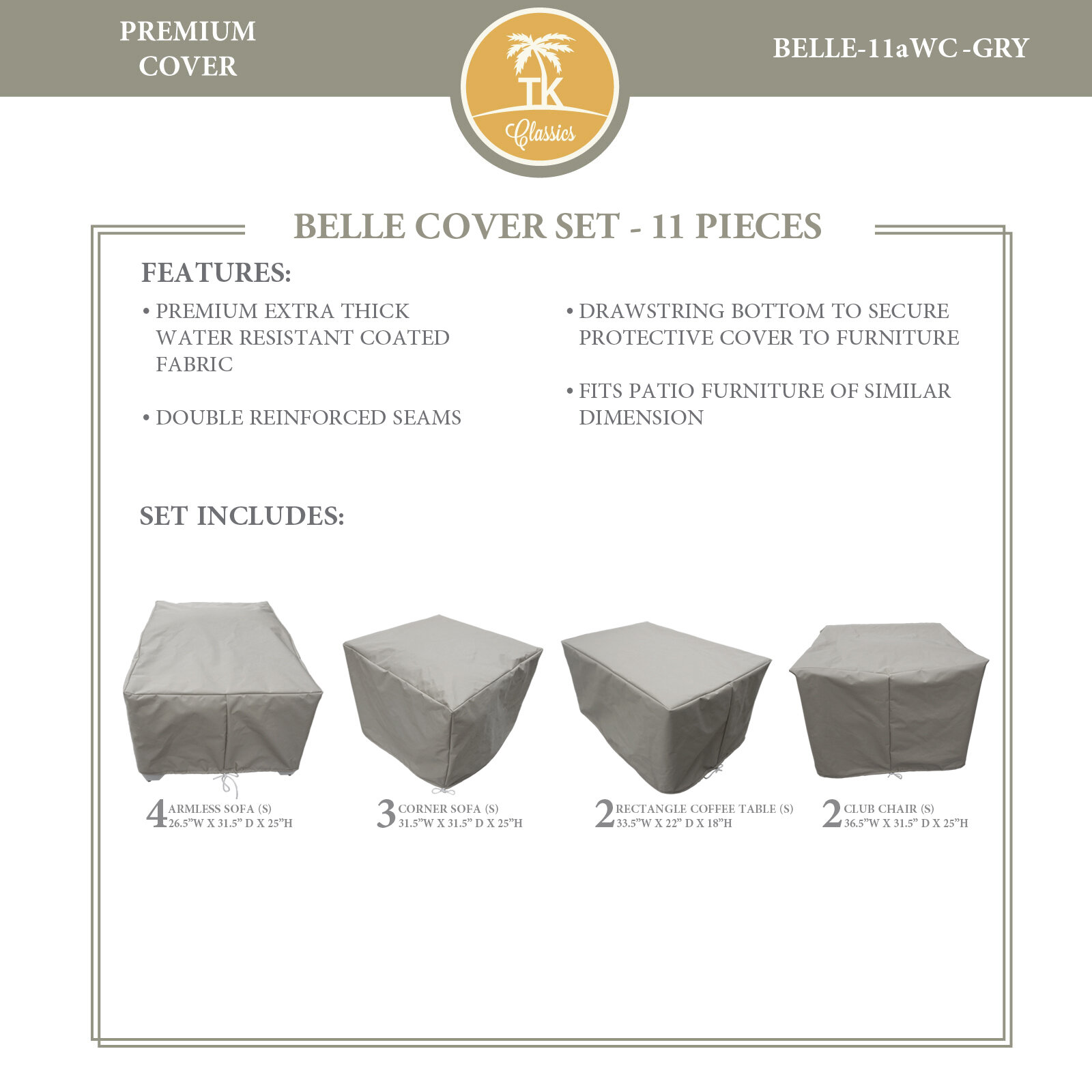 Tk Classics Bee 11 Piece Water Resistant Patio Furniture Cover Set