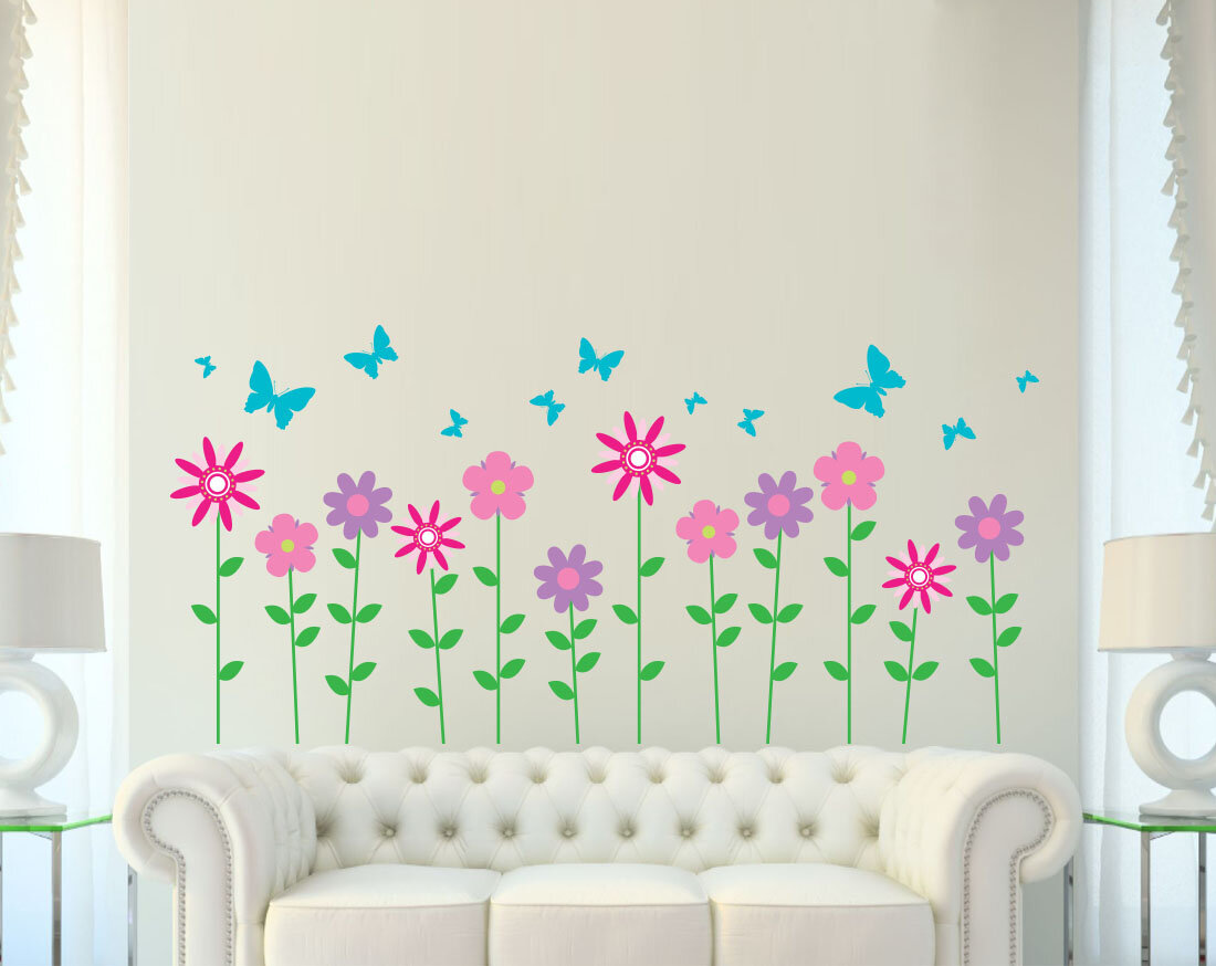 Wall Decal Source Flower And Butterfly Wall Decal Wayfair