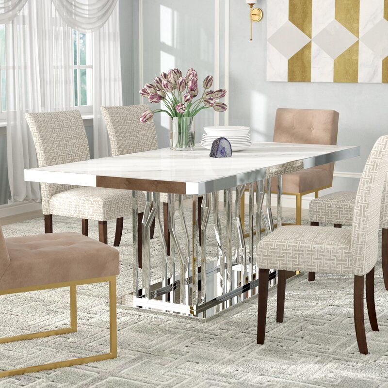Everly Quinn Altus Marble And Stainless Steel Dining Table Wayfair