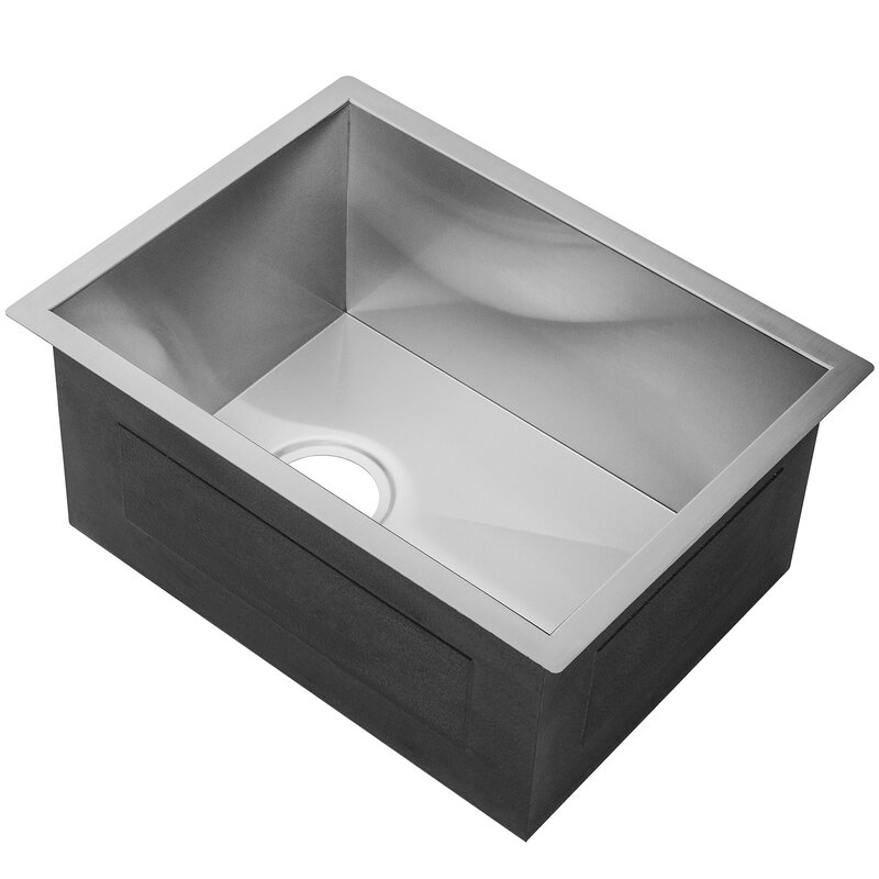 """AKDY 15"""" L x 20"""" W Undermount Stainless Steel Single Bowl Kitchen Sink w/ Adjustable Tray and Drain Strainer Kit"""