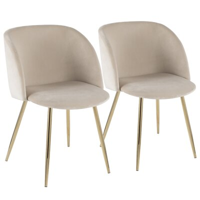 Brayden Studio Chu Upholstered Dining Chair Color: Cream/Gold