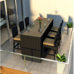 Azariah 7 Piece Sunbrella Bar Height Dining Set with Cushions