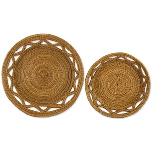 Affordable Price Natural Detail 2 Piece Pine Needle Basket Set (Set of 2) By Bloomsbury Market