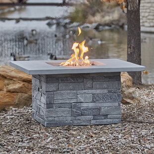 Ledgestone Square Concrete Propane/Natural Gas Fire Pit Table by Real Flame