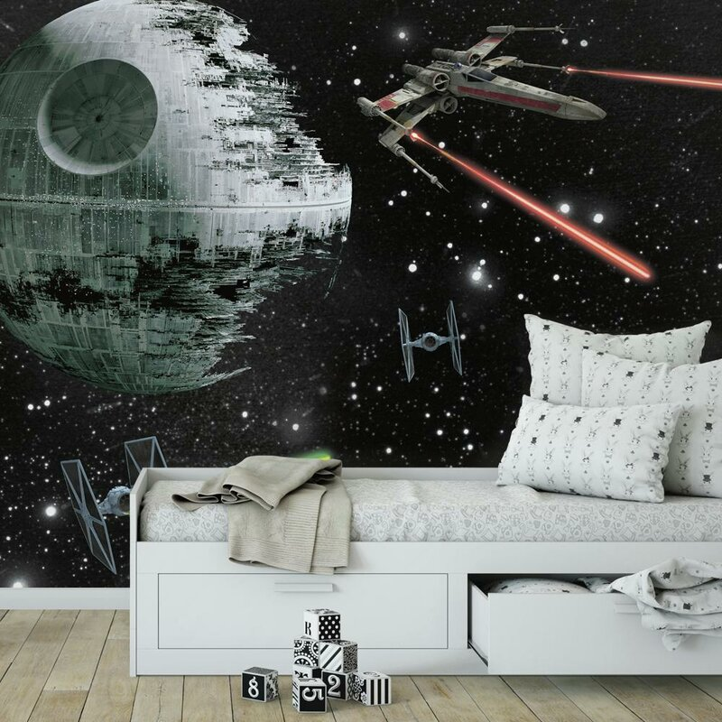 Star Wars Battle Ships Wallpaper Woven Self Adhesive Wall Art Mural Decal M236