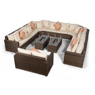 Villasenor Brown Rattan 10 Seat Sofa With 2 X Rectangle Ice Bucket Coffee Table & 2 Seat Sofa, Outdoor Patio Garden Furniture Image