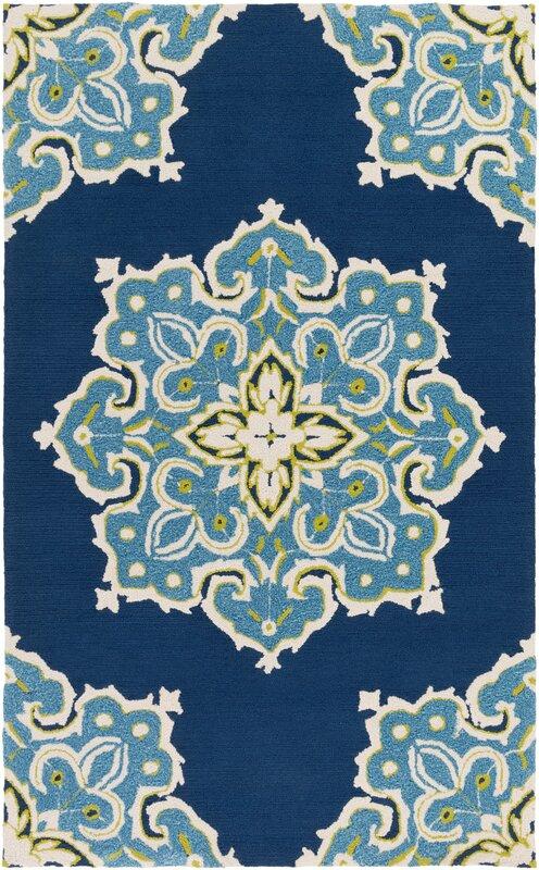 Mistana Iona Hand-Hooked Blue Indoor/Outdoor Area Rug & Reviews ...