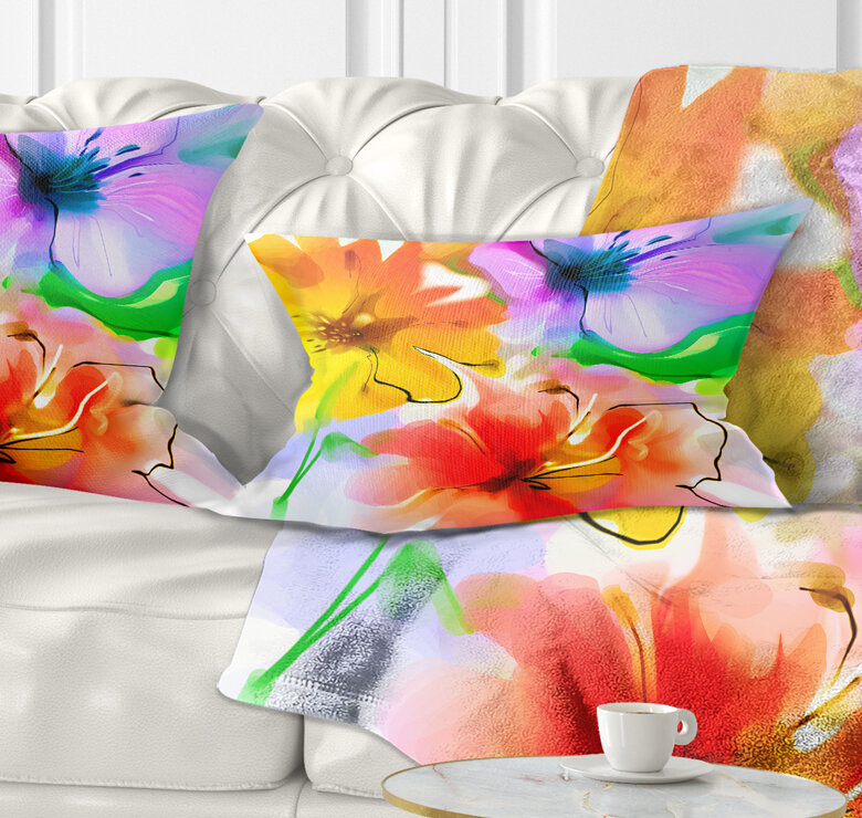 East Urban Home Floral Bunch Of Colorful Flowers Sketch Lumbar Pillow Wayfair