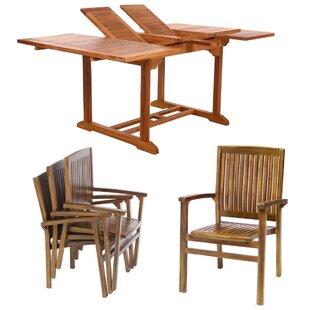 All Things Cedar Teak 5 Piece Dining Set
