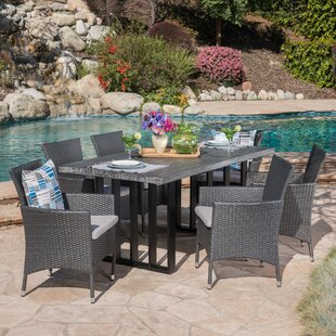 Rosecliff Heights Younes Outdoor 7 Piece Dining Set with Cushions