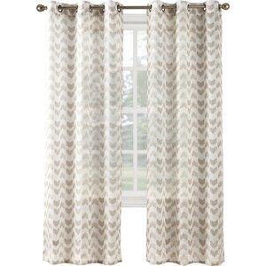 Linda Chevron Sheer Grommet Single Curtain Panel