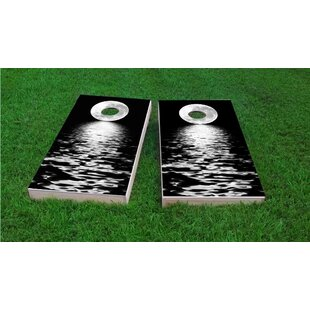Custom Cornhole Boards Full Moon Over the Water Light Weight Cornhole Game Set