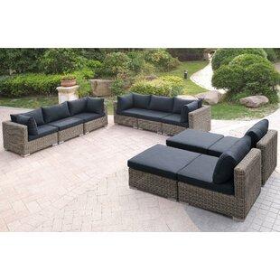 A&J Homes Studio Harvey 10 Piece Patio Sofa Set with Cushions