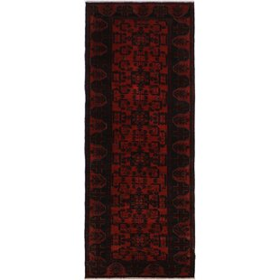 Order One-of-a-Kind Cremeans Hand-Knotted Runner 2'10 x 9'7 Wool Red/Black Area Rug By Isabelline