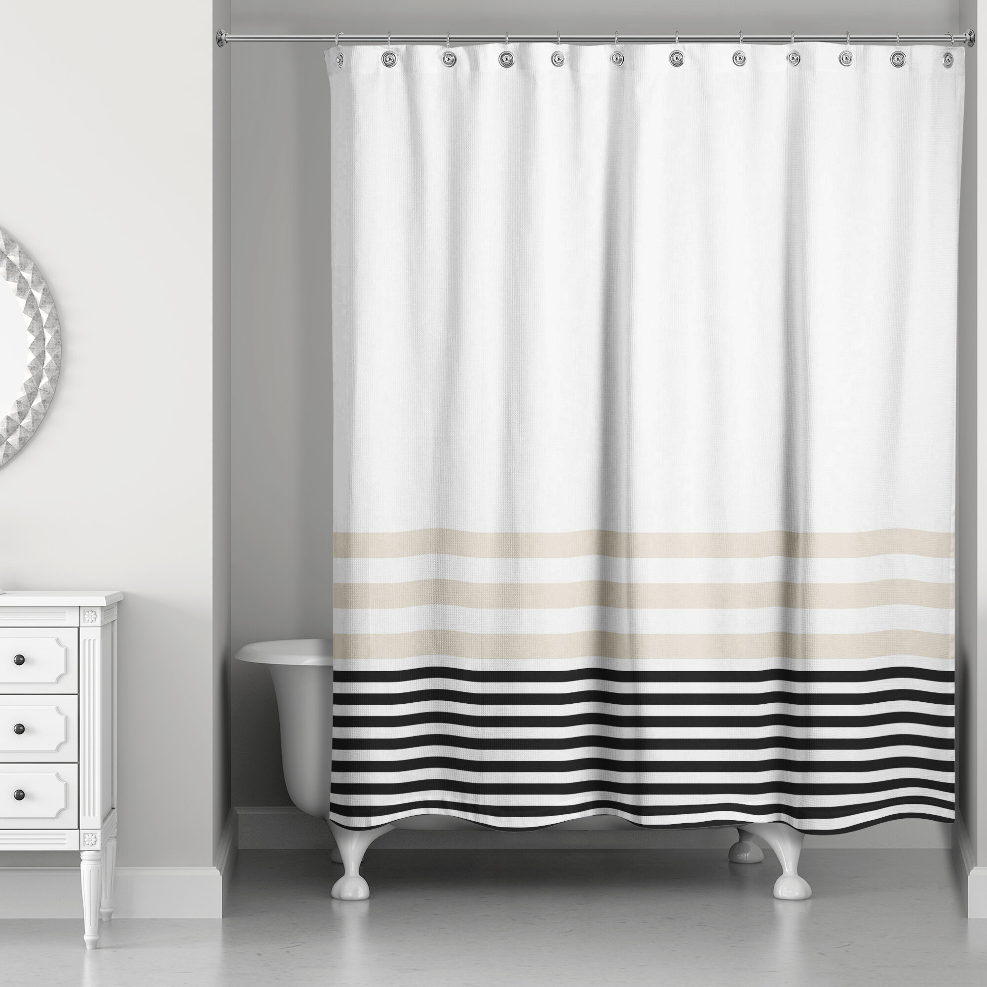 Black Striped Shower Curtains Youll Love