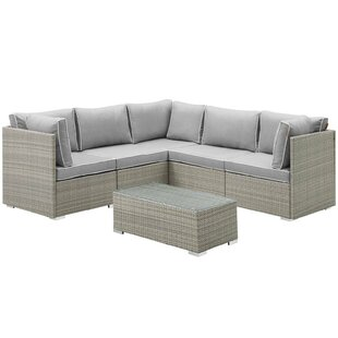Heinrich Outdoor Patio 6 Piece Rattan Sectional Seating Group with Sunbrella Cushions