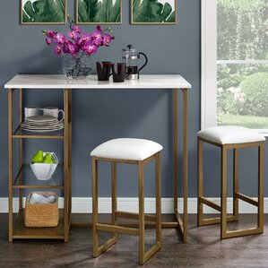Drysdale 3 Piece Pub Table SetModern   Contemporary Pub Tables   Bistro Sets   Wayfair. Modern Bar Tables And Chairs. Home Design Ideas