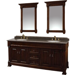 Affordable Andover 72 Double Dark Cherry Bathroom Vanity Set with Mirror By Wyndham Collection