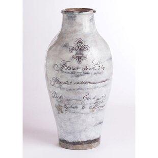 Brecon White Ceramic Grand Urn Table Vase byLark Manor