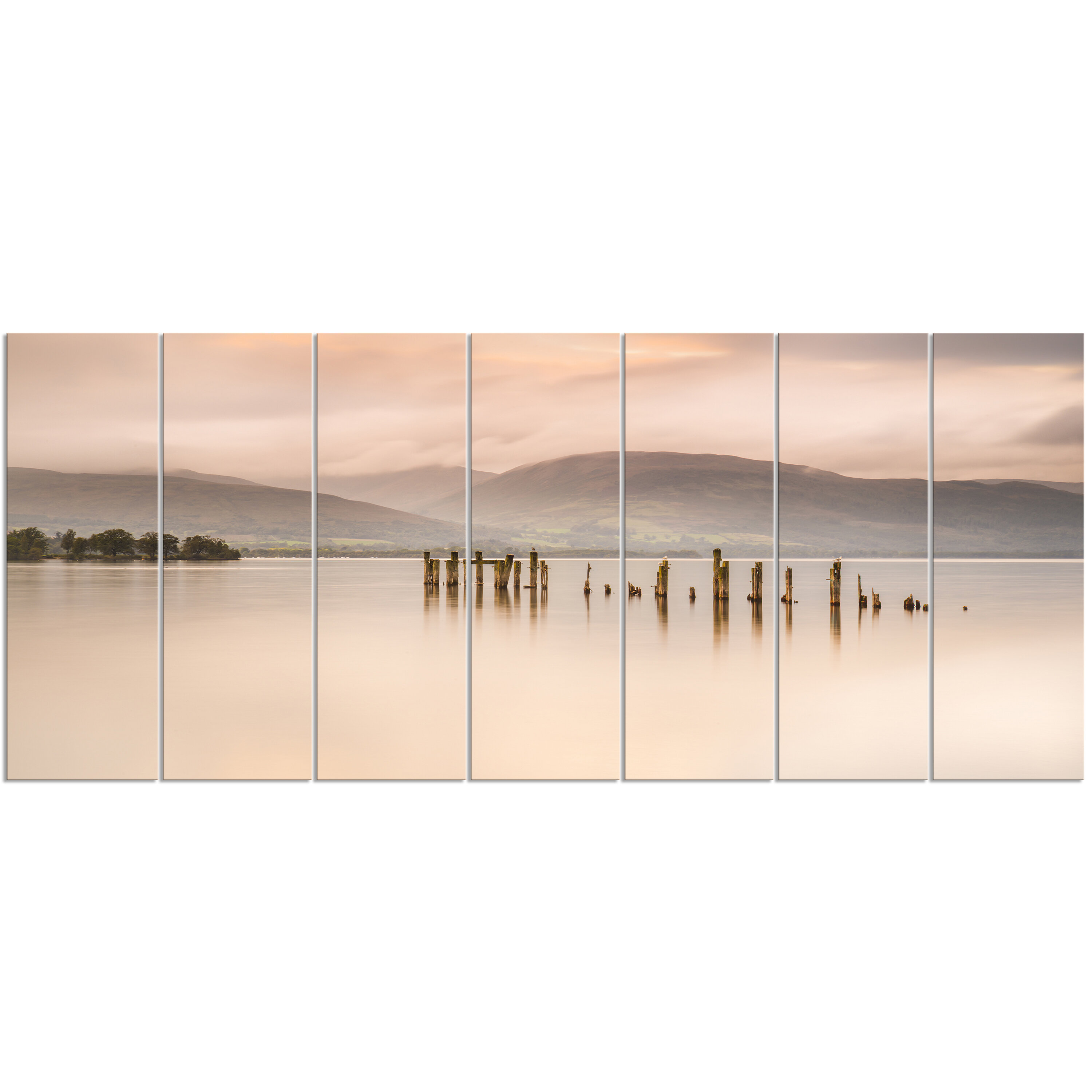 Designart Loch Lomond Jetty And Mountains 7 Piece Photographic Print On Wrapped Canvas Set Wayfair