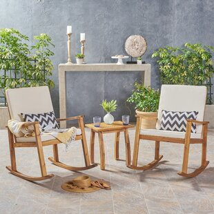 Adrianna Outdoor 3 Piece 2 Person Seating Group with Cushions by Union Rustic