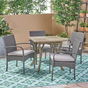 Mabie Outdoor 5 Piece Dining Set with Cushions