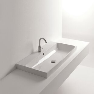 WS Bath Collections Normal Ceramic Rectangular Vessel Bathroom Sink with Overflow