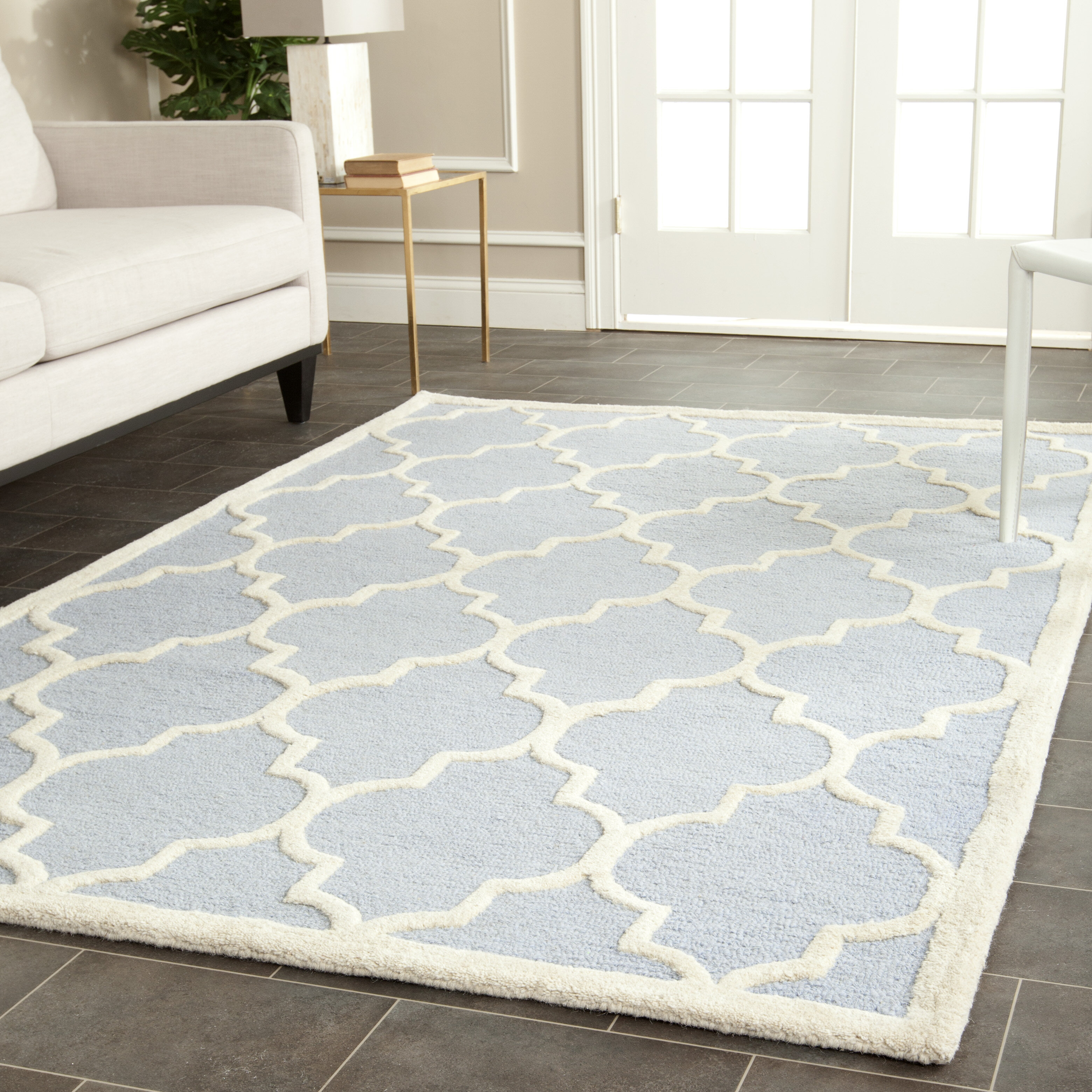 Picture of: Birch Lane Whitchurch Geometric Hand Tufted Wool Light Blue Ivory Area Rug Reviews Wayfair Ca