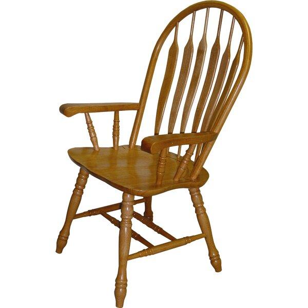 August Grove Malaysian Oak Windsor Back Solid Wood Dining Chair U0026 Reviews |  Wayfair