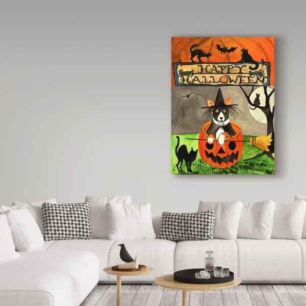 'Happy Dog Pumpkin Halloween' Acrylic Painting Print on Wrapped Canvas