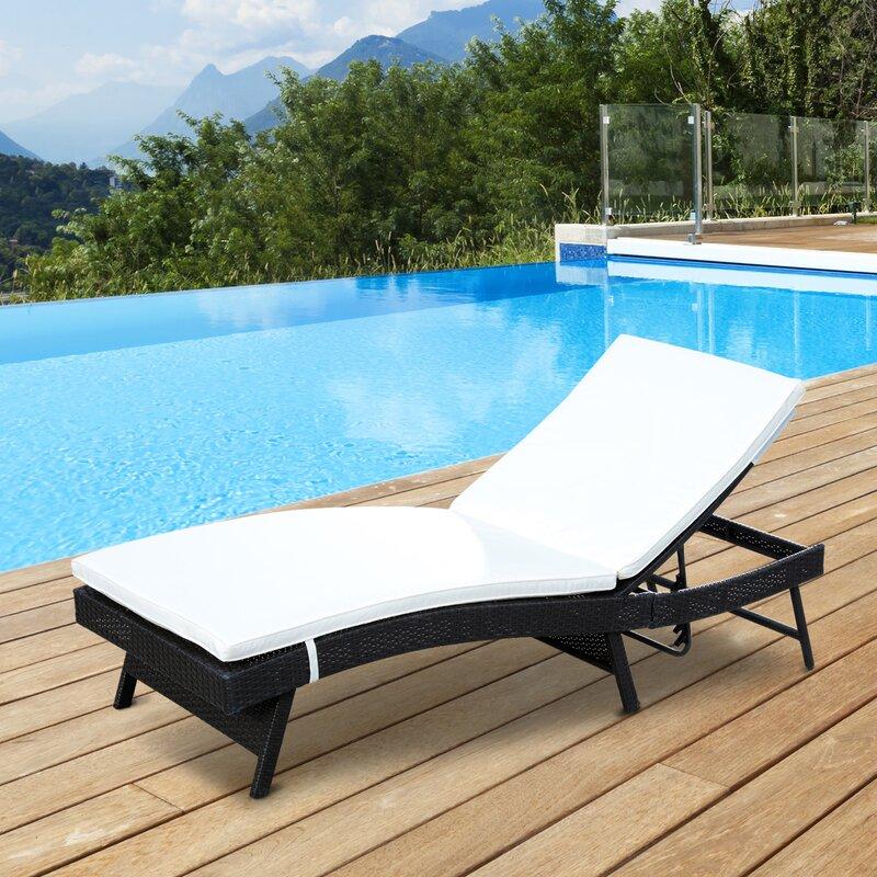 Shurtleff Adjustable PE Rattan Chaise Lounge Chair : rattan chaise lounge chair - Sectionals, Sofas & Couches