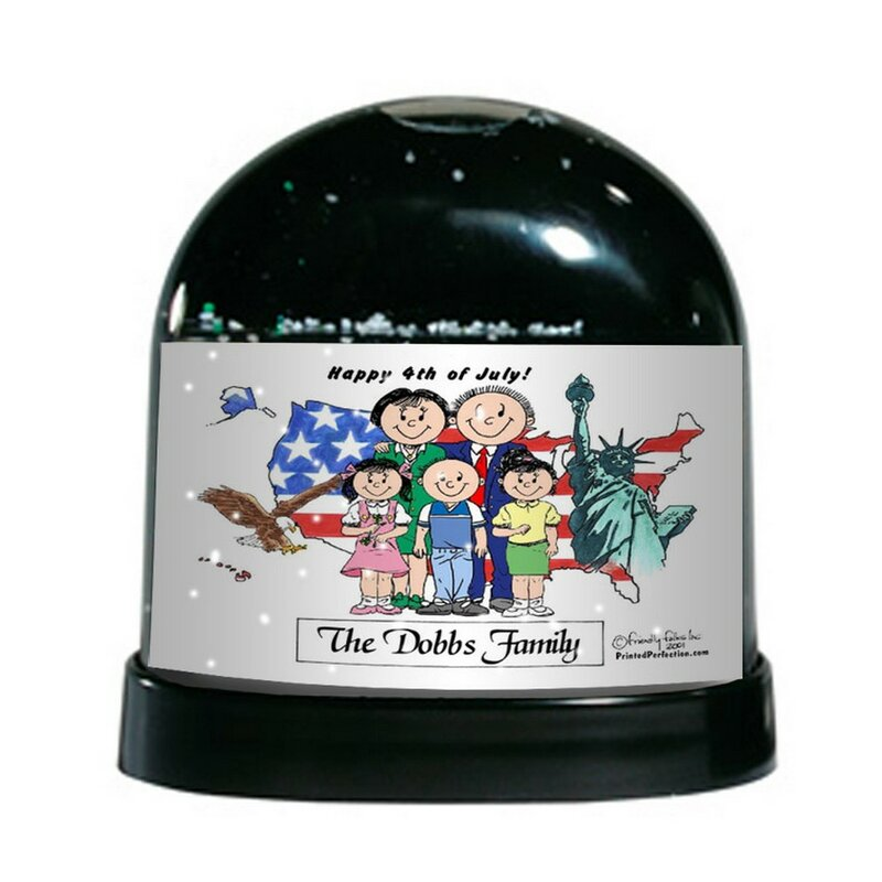 The Holiday Aisle Friendly Folks Cartoon Caricature Two Girls And One Boy Patriotic Couple Snow Globe Wayfair