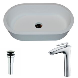 Best Vaine Stone Oval Vessel Bathroom Sink with Faucet By ANZZI