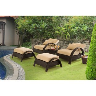 Nancy Relaxer 5 Piece Rattan Conversation Set with Cushions