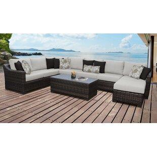 kathy ireland Homes & Gardens River Brook 9 Piece Outdoor Wicker Patio Furniture Set 09d by TK Classics