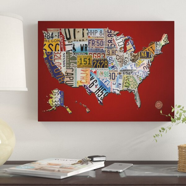 \'USA License Plate Map on Billiard Red\' Graphic Art Print on Canvas