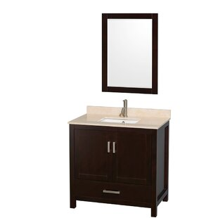 Sheffield 36 Single Espresso Bathroom Vanity Set with Mirror By Wyndham Collection