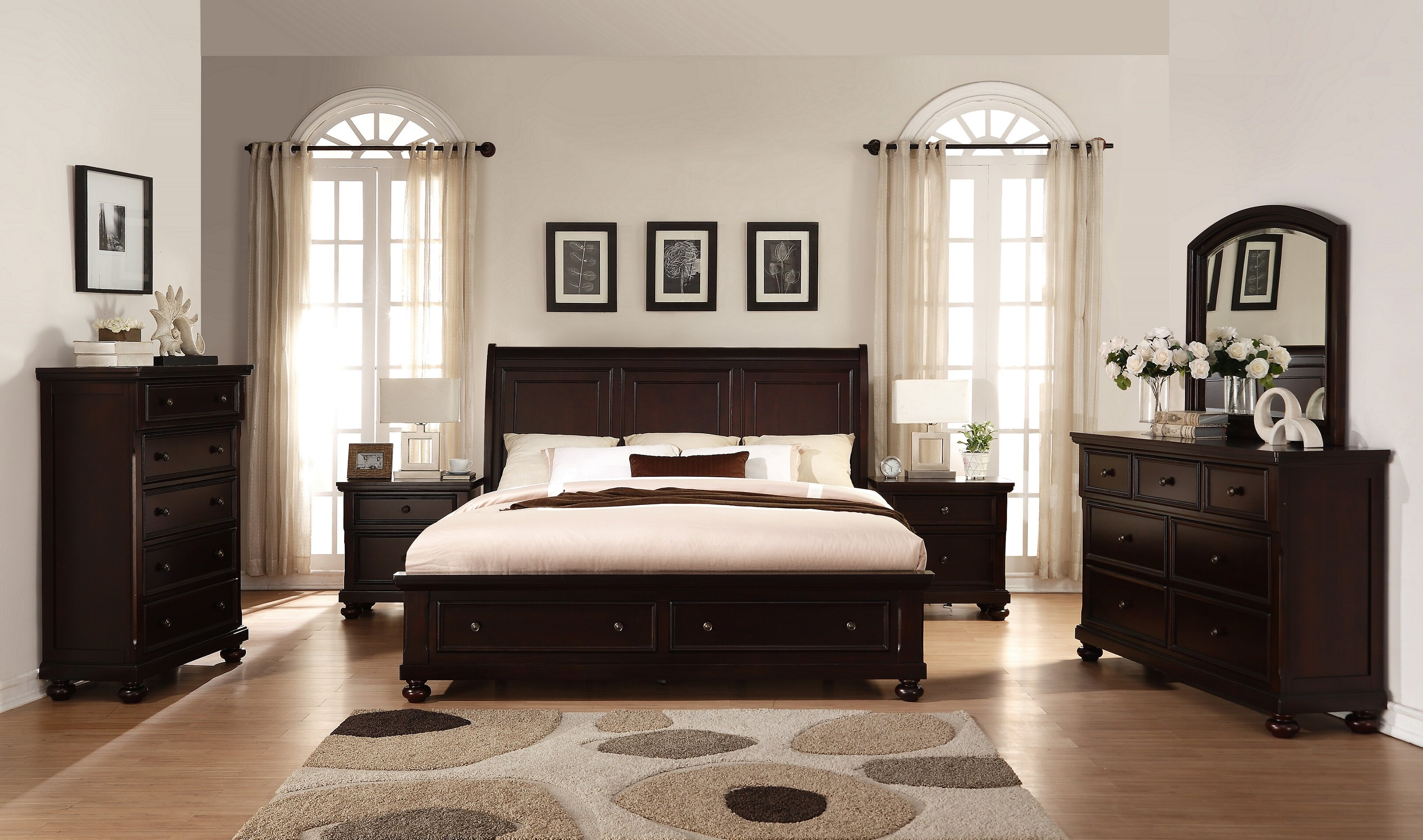 Roundhill Furniture Brishland Queen Platform 6 Piece Bedroom Set ...