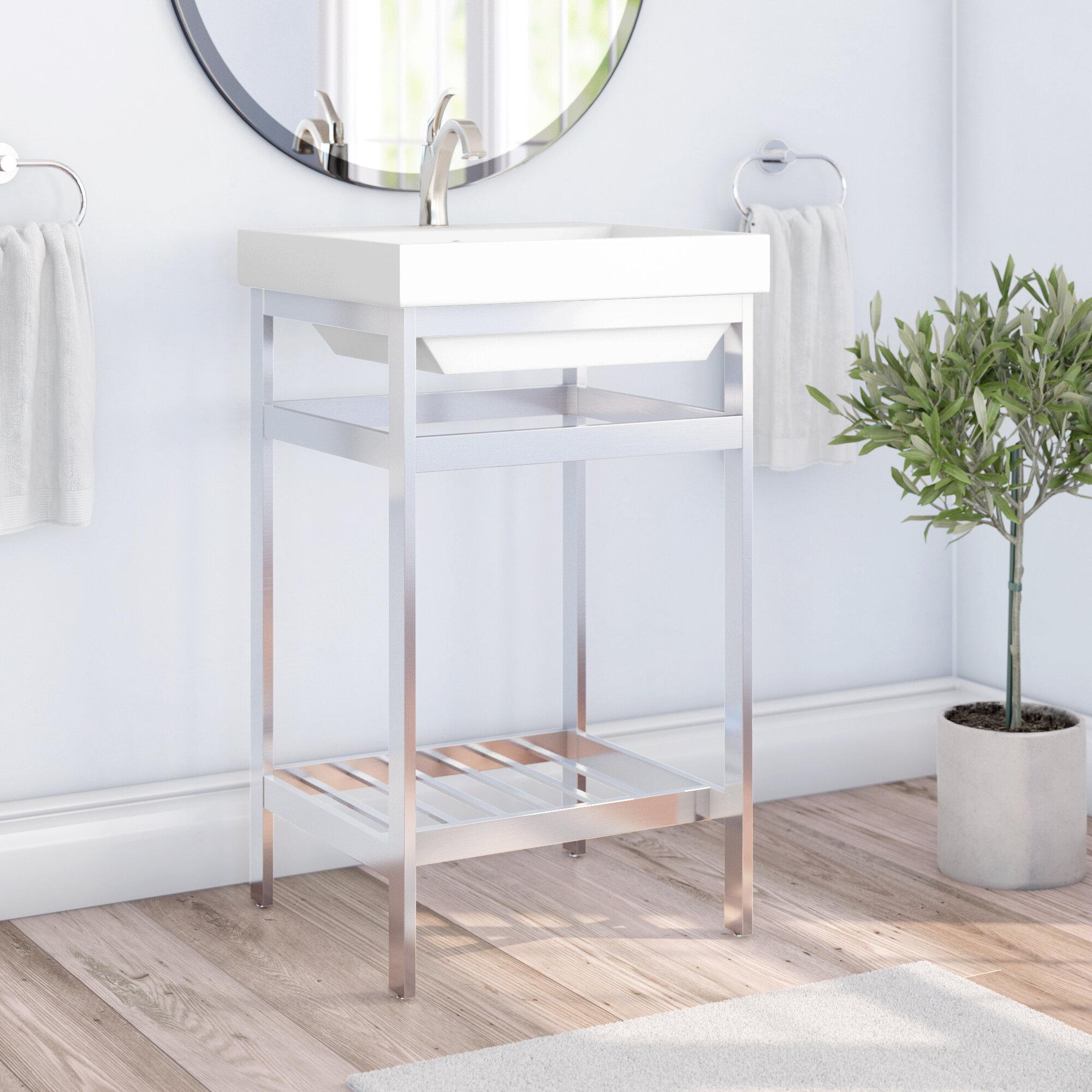 Latitude Run Burnsdale Stainless Steel Open Console 20 Single Bathroom Vanity Set Wayfair