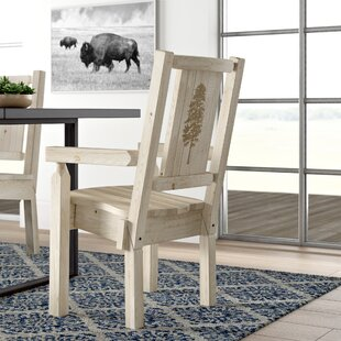 Abella Captain's Solid Wood Dining Arm Chair Loon Peak