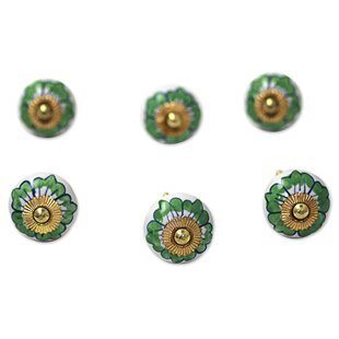 Hand Painted Floral Decorative Cabinet 'Green Flowers' Round Knob (Set of 6)