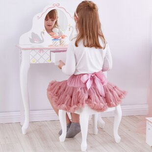 Peasely Dressing Table Set With Mirror By Harriet Bee