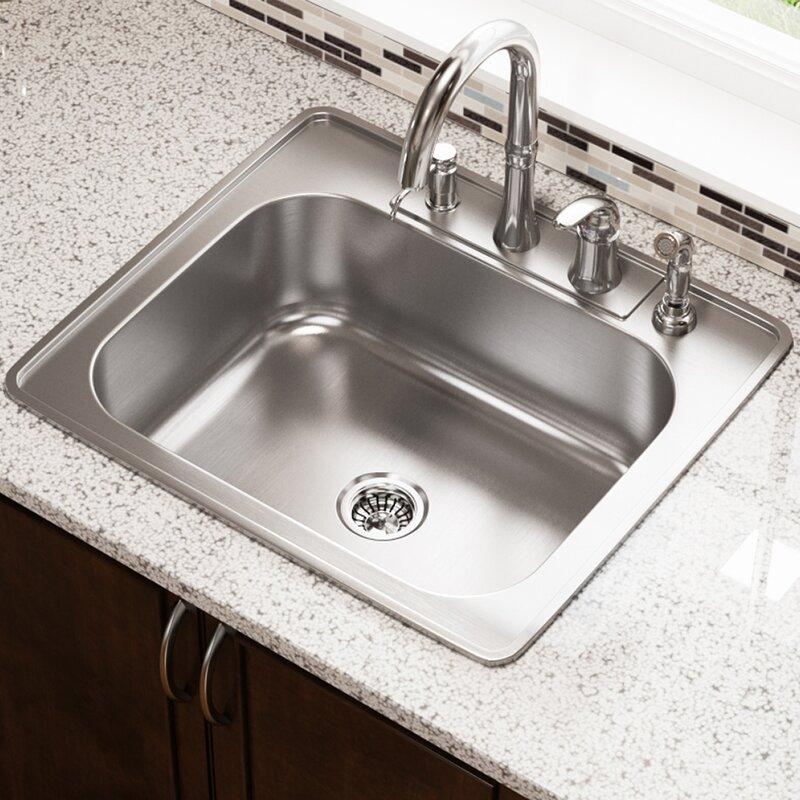 stainless steel 25   x 22   drop in kitchen sink mrdirect stainless steel 25   x 22   drop in kitchen sink  u0026 reviews      rh   wayfair com
