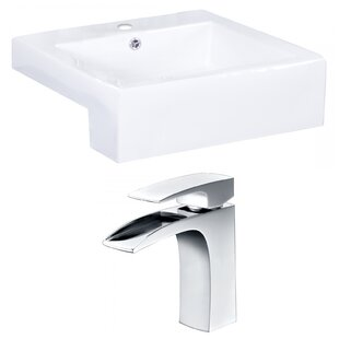 American Imaginations Xena Farmhouse Ceramic Rectangular Vessel Bathroom Sink with Faucet and Overflow