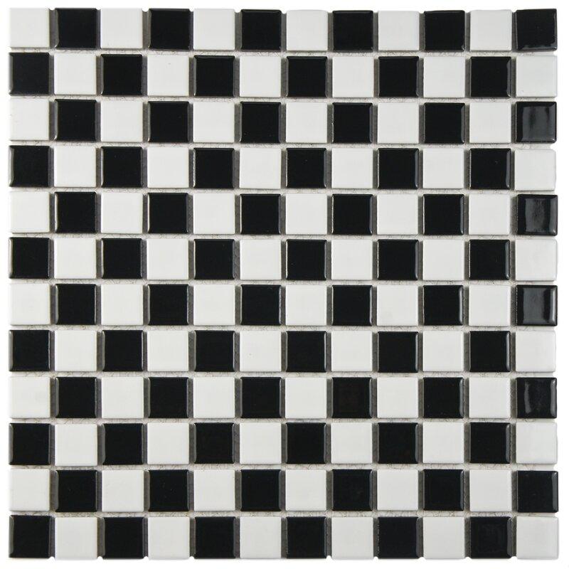 Interior Black And White Mosaic Tile derecha 1 25 x porcelain mosaic tile in blackwhite blackwhite