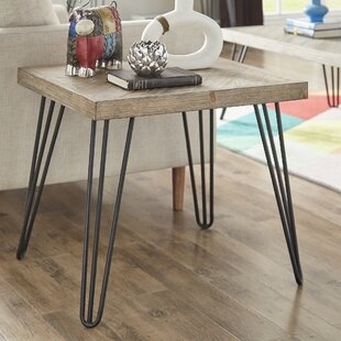 Lampley Wood and Metal End Table by Wrought Studio
